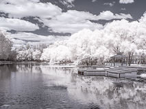 Moscow. The Italian pond. Infrared photography. City landscape. Arbor on the shore of the Italian pond. Moscow city. Infrared photography Royalty Free Stock Image