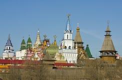 Moscow, Izmaylovskiy Kremlin. Izmaylovskiy Kremlin in region Izmaylovo - architecture ensamble of original wooden buildings, vernisage of art and crafts, famous Stock Image