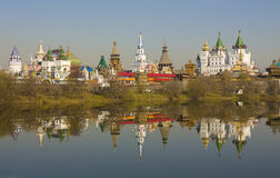 Moscow. Izmaylovskiy Kremlin in region Izmaylovo, famous tourist landmark, vernisage of art and crafts with original wooden architecture Royalty Free Stock Images