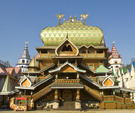 Moscow, Izmaylovskiy Kremlin. Wooden palace in Izmaylovskiy Kremlin in region Izmaylovo - architecture ensamble of original wooden buildings, vernisage of art Royalty Free Stock Images