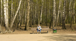 Moscow, Izmaylovskiy park. MOSCOW - APRIL 29, 2014: people resting in Izmaylovskiy park in summer. The biggest park of Europe with territory 1500 hectare exist Stock Photography