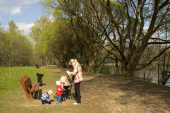 Moscow, Izmaylovskiy park. MOSCOW - APRIL 29, 2014: people resting in Izmaylovskiy park in summer. The biggest park of Europe with territory 1500 hectare exist Stock Photo