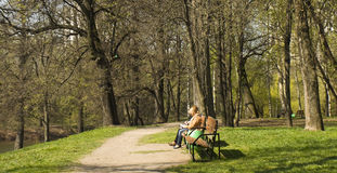 Moscow, Izmaylovskiy park. MOSCOW - APRIL 29, 2014: people resting in Izmaylovskiy park in summer. The biggest park of Europe with territory 1500 hectare exist Stock Image