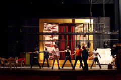 Actors dance at rehearsal in Palace on Yauza stock image