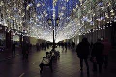 Christmas decorations on Nikolskaya street, in Moscow city historic center. royalty free stock photography