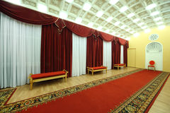 Empty Hall with red carpet in Palace on Yauza Stock Images
