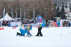 Moscow, January 18 2015: FIS Ski Cup Race Royalty Free Stock Images