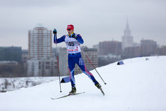 Moscow, January 18 2015: FIS Ski Cup Race Stock Photo