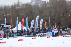 Moscow, January 18 2015: FIS Ski Cup Race Stock Photos