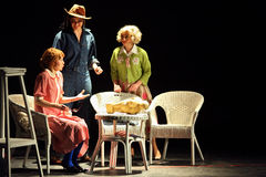 Rostova, Makeeva, Vorozhtsova play at Musical Witches of Eastwick Stock Photo