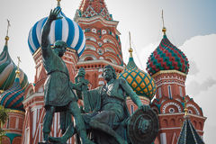 MOSCOW JULY 15: Dmitry Pozharsky and Kuzma Minin monument on 15 July 2015 in Moscow, Russia Royalty Free Stock Images