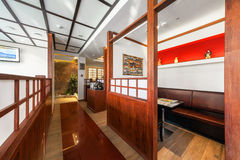 MOSCOW - JULY 2013: The interior is modern Japanese restaurant Ichiban Boshi. Small hall Royalty Free Stock Photos