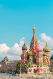 MOSCOW JULY 15: View to Cathedral of Vasily the Blessed on 15 July 2015 in Moscow Royalty Free Stock Photo