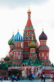 MOSCOW JULY 15: View to Cathedral of Vasily the Blessed on 15 July 2015 in Moscow Stock Images