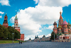 MOSCOW JULY 15: View to Kremlin Wall, Saviour Tower and St. Basil's Cathedral on Red Square on 15 July 2015 in Moscow in Russia Stock Photos