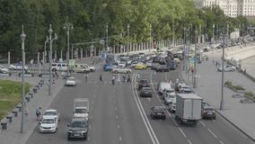 MOSCOW - JUNE 14: Car traffic on the main street of moskvoretskaya embankment on June 14, 2019 in Moscow, Russia stock video footage