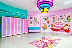 Large room for children`s parties. Moscow - June 24, 2014: Large room for children`s parties Royalty Free Stock Images