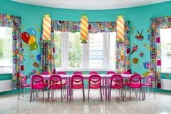 Room for children`s parties. Moscow - June 24, 2014: Large room for children`s parties Stock Images