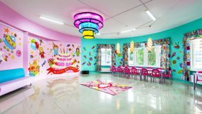 Large room for children`s parties. Moscow - June 24, 2014: Large room for children`s parties Stock Photography