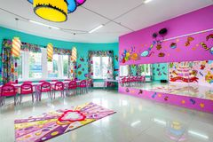 Large room for children`s parties. Moscow - June 24, 2014: Large room for children`s parties Stock Photo