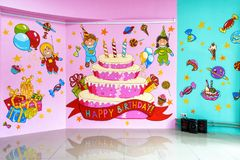 Large room for children`s parties. Moscow - June 24, 2014: Large room for children`s parties. Happy Birthday Royalty Free Stock Photography
