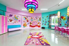 Large room for children`s parties. Moscow - June 24, 2014: Large room for children`s parties Stock Images