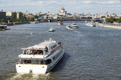 Moscow 12 june 2015 Moscow River. Rest on ships in Moscow Royalty Free Stock Images