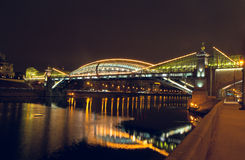 Moscow. Kiev pedestrian bridge. Royalty Free Stock Image