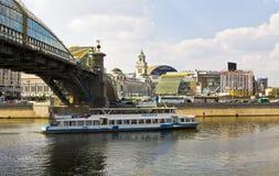 Moscow, Kievsky railway station and Kievsky bridge of Bogdan Khm Royalty Free Stock Image
