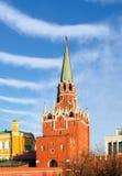 Moscow. Kreml. Troitskaya (Trinity) Tower. Moscow. Kreml. Troitskaya (Trinity) Tower against the background of a striped sky stock photos