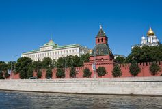 Moscow. Kreml.Wall, Kremlin Palace and Cathedrals Stock Photos