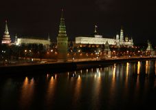 Moscow the Kremlin. View in the night stock images