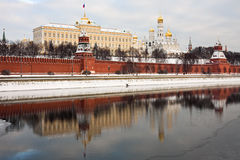 Moscow Kremlin. With reflection in Moscva river, Russia Royalty Free Stock Image