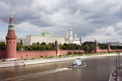 Moscow Kremlin. View from Moscow river Royalty Free Stock Photo