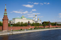 Moscow Kremlin. And Moscow river, view from the bridge Stock Image