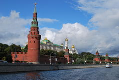 Moscow Kremlin. Kind to the Moscow Kremlin, Grand Kremlin Palace, Cathedrals and quay Moskva River Royalty Free Stock Photo