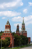 Moscow Kremlin. Kremlin (Cremlin) in Moscow with towers, palace, cathedral, wall of stones, Moscow river, embankment and bridge Stock Images