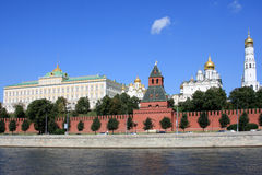 The Moscow Kremlin. And the Moskva River in a sunny day Royalty Free Stock Images