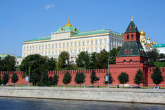The Moscow Kremlin. And the Moskva River in a sunny day Stock Photos
