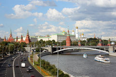 The Moscow Kremlin. And the Moskva River in a sunny day Stock Image