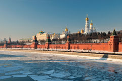 Moscow Kremlin. Panorama of Moscow Kremlin in winter Royalty Free Stock Photos
