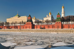 Moscow Kremlin. Panorama of Moscow Kremlin in winter Stock Images