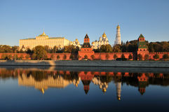 Moscow Kremlin. With towers and churches at sunset Royalty Free Stock Photo