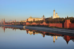 Moscow Kremlin. With churches at sunset Royalty Free Stock Photos