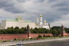 Moscow Kremlin. With Moscow river Stock Photos