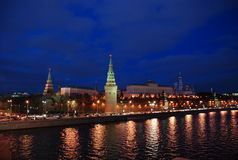 Moscow Kremlin. Moscow River embankment at night stock photos