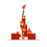 Moscow Kremlin afire. National landmark Russia lit fire.  Stock Photography
