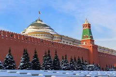Moscow Kremlin against blue sky. Winter in moscow Stock Image