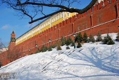 Moscow Kremlin and Alexanders garden in winter. Color photo. Royalty Free Stock Images