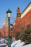 Moscow Kremlin and Alexanders garden in winter. Color photo. Royalty Free Stock Photos